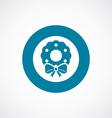 Christmas wreath icon bold blue circle border vector image vector image