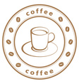 coffee cup stamp vector image vector image