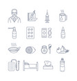 cold and flu treatment thin line contour icons vector image