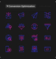 conversion optimization thin line icons set vector image