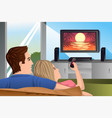 couple watching tv vector image vector image