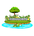 crocodile are playing together in the garden vector image