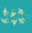 cute ghost owls set in green colors vector image