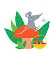 cute rat sit on autumn mushroom vector image vector image