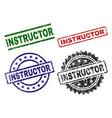 damaged textured instructor stamp seals vector image vector image