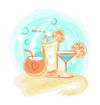 delicious summer cocktails with straws and fruits vector image