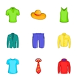 Different clothes icons set cartoon style vector image vector image