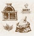 digital detailed line art bakery vector image