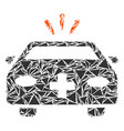 emergency car collage of triangles vector image