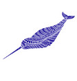 fantasy ornamental narwhal blue color vector image vector image