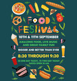 food festival flyer with food alphabet vector image vector image