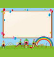 frame design with kids in playground vector image vector image