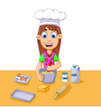 funny cartoon girl making cake vector image vector image