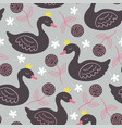 gray seamless pattern with black princess swan vector image vector image