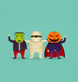 halloween characters in costume mummy vampire vector image