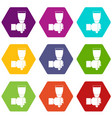 hand hjlding paint brush icon set color hexahedron vector image vector image