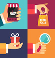 Hand with Smartphone Hand with Shoping Bag Hand vector image vector image