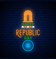 happy india republic day neon vertical greeting vector image vector image