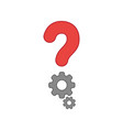 icon concept of question mark with gears colored vector image vector image