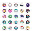 internet flat icons pack vector image
