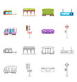 isolated object of train and station logo vector image vector image