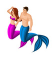 isometric pair of mermaids marine inhabitants vector image vector image