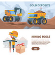 mine development and equipment horizontal banner vector image vector image