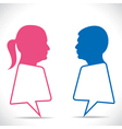 pink women and blue men message bubble vector image vector image