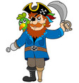 pirate with parrot and sabre vector image vector image