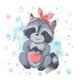 postcard cute raccoon with heart cartoon style vector image vector image