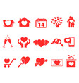 red valentine day icons set vector image