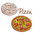 set of round italian pizza vector image