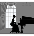 Silhouette playing piano woman vector image