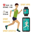 Sport fitness app concept on touchscreen vector image