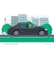 Successful businessman man rides through the city vector image