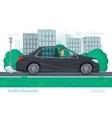 Successful businessman man rides through the city vector image