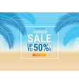 Summer sale card with coconut leaf on beach