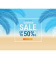 summer sale card with coconut leaf on beach vector image