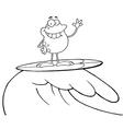 Surfing frog cartoon vector image vector image