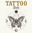 tattoo studio poster with mystical butterfly moon vector image vector image