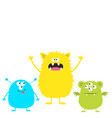 three colorful monster set head face cute cartoon vector image vector image