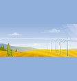 wind turbines on on autumn field flat vector image