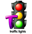 A letter T for traffic lights vector image vector image