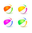 a set of colored inflatable beach balls realistic vector image