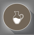 amphora sign white icon on brown circle vector image vector image