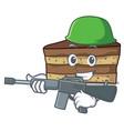 army tiramisu character cartoon style vector image vector image