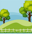 background scene with green trees vector image vector image