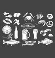 beer and snack glyph icons set vector image vector image