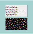 business cards design funny birds background vector image vector image