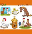 cartoon funny farm animal comic characters set vector image vector image
